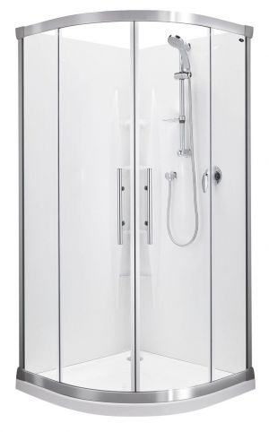Englefield VALENCIA 1000x1000 Round Sliding Shower Satin